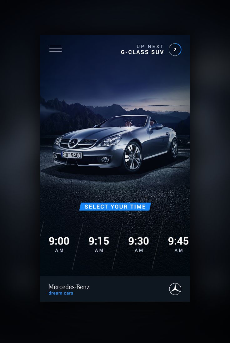 Mercedes Benz Mobile website UI design concept