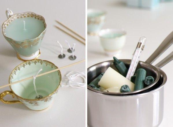 projects idea unique tea cups. Zelf kaarsen maken in brocante theekopjes  DIY Vintage Tea Cup Candles 54 best cup candles images on Pinterest of tea