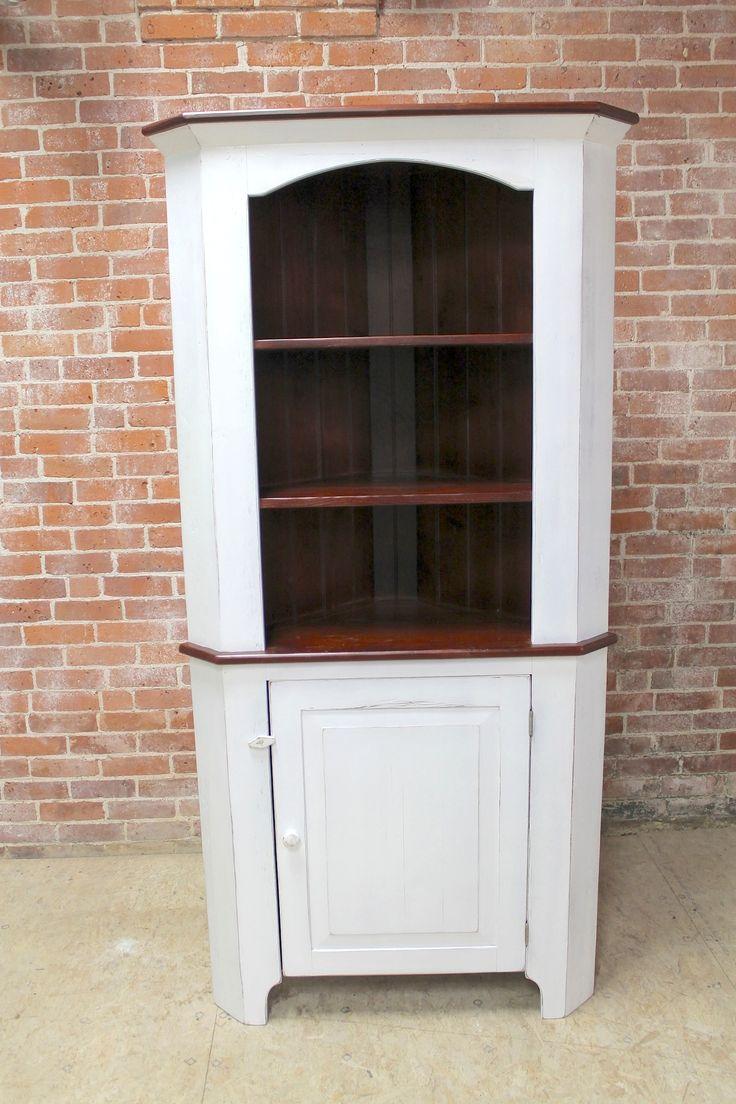 Best Farmhouse Open Top Corner Cabinet Snow White Exterior 400 x 300