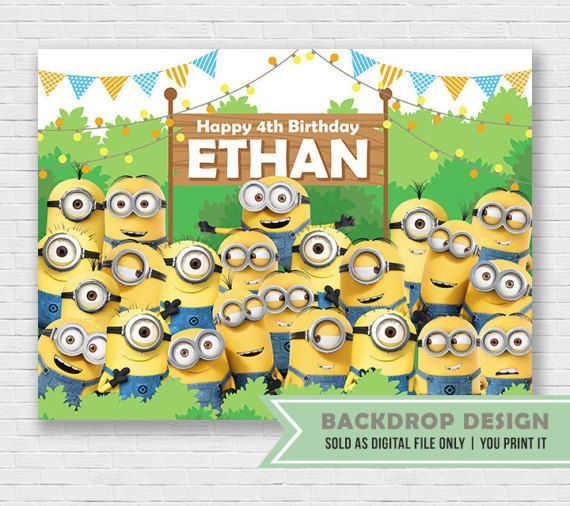 Minion Birthday Party Banner Backdrop // Digital File Only