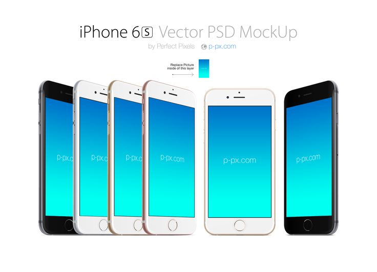 iPhone 6S front and angled views PSD   Ai mockup