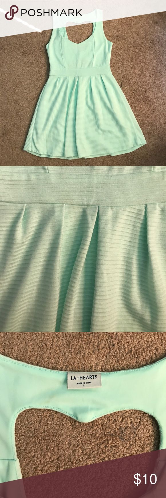 Mint Heart Back Dress Super cute mint colored dress with adorable detailing on the back! Dresses