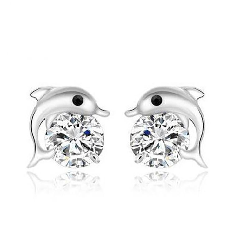 GAGAFEEL 100% 925 Silver Dolphin earrings Genuine Real Pure 925 Silver Cute Fish earrings For Women Fashion Jewelry Wholesale