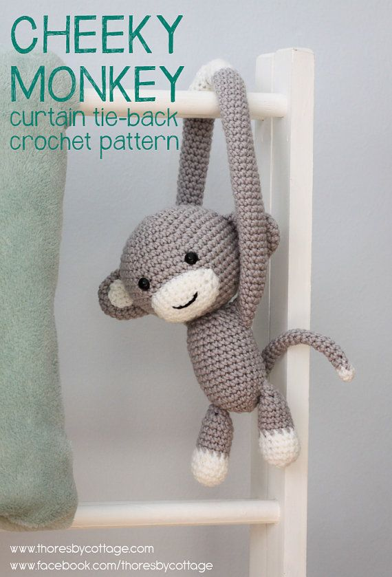 Cheeky Monkey curtain tie back crochet pattern von ThoresbyCottage