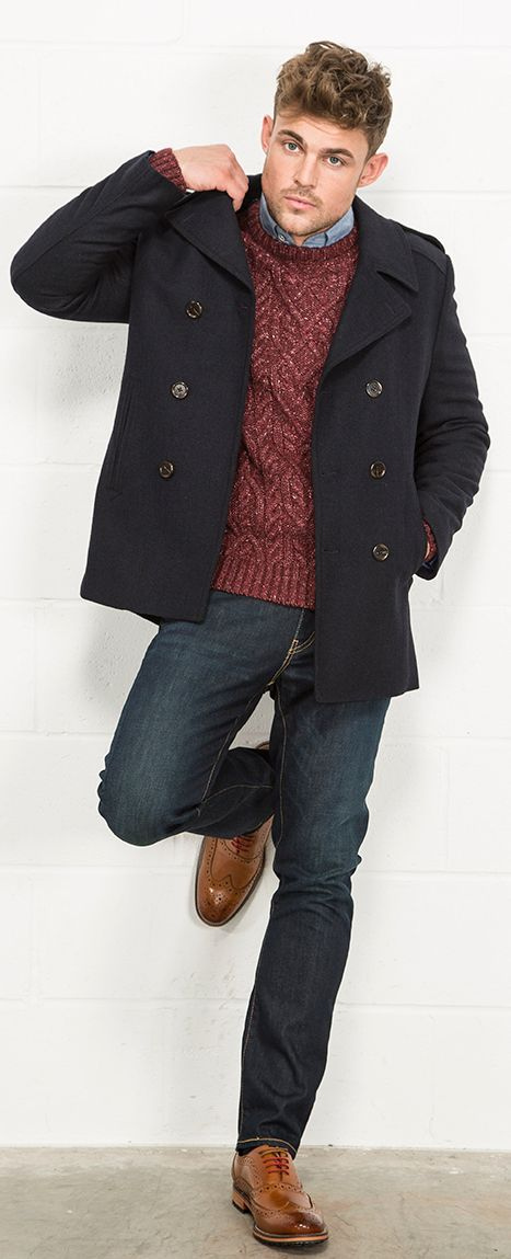 Fellini Tailored Herringbone Twill Mens Peacoat from Slater Menwear AW15 Collection