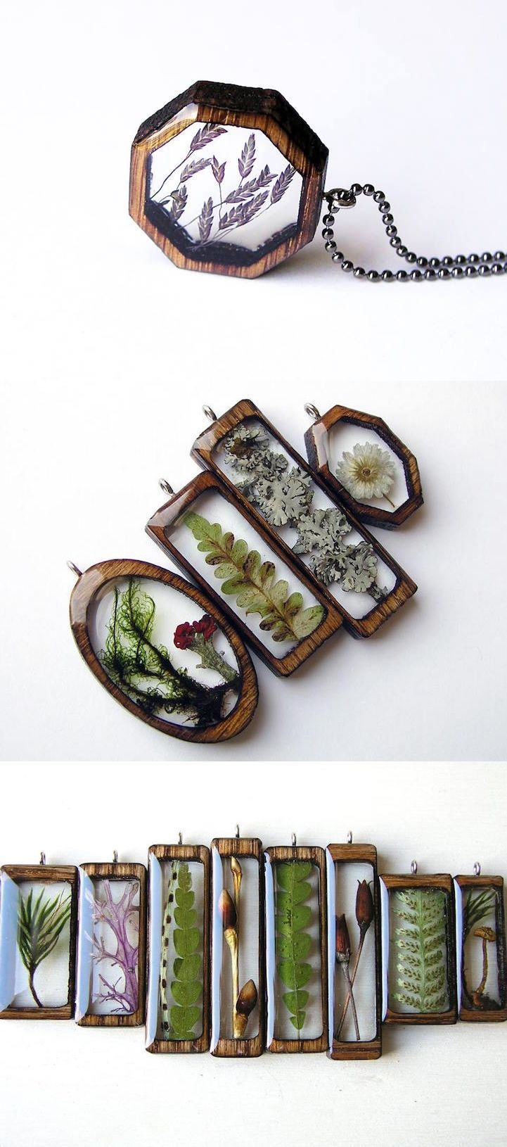 Artist Erin LaRocque (of BuildWithWood) creates beautiful pendants by encapsulating natural treasures, found in Michigans Hiawatha National Forest, in resin and laser-cut wood frames. #jewelry