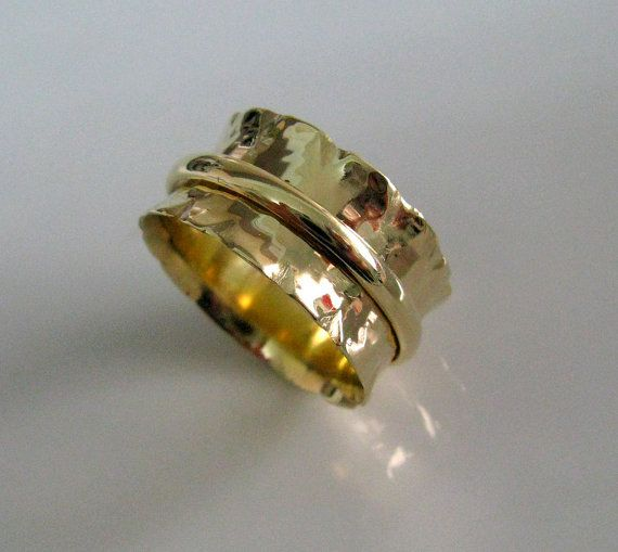 Statement Wedding Ring Fine Jewelry 14k Solid Yellow Gold Zigzag Spinner Handmade By Amallias