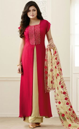 FS2280 Georgette Embrodary Work red Semi Stitched Anarkali type Suit - krK fashion