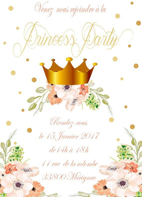 6 Cards Princess Birthday Invitation Gold And Pink Flowers Size