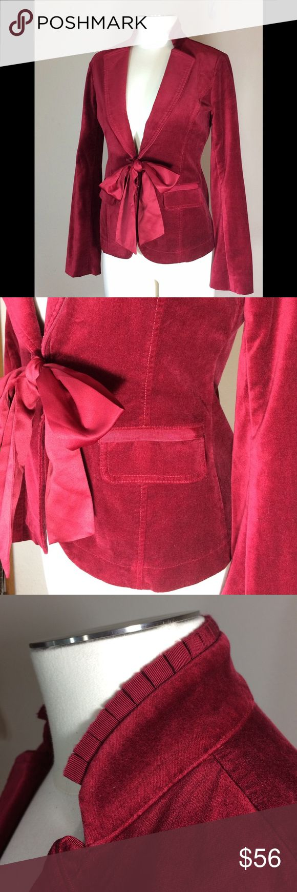 WHBM ruby red velvet jacket blazer OMG, I wish this fit me! It's perfect for the holidays. Velvet with beautiful details. Hook and eye front closer with optional satiny tie. Size 2. Non-smoking home. White House Black Market Jackets & Coats Blazers