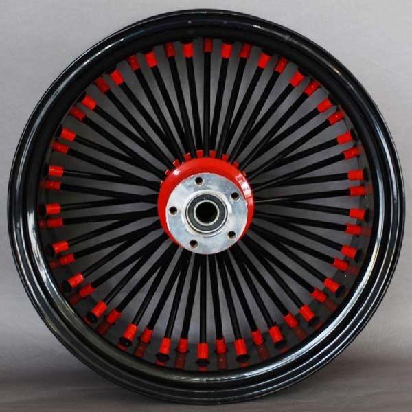 Red hubs, black spokes, red nips, black rim.