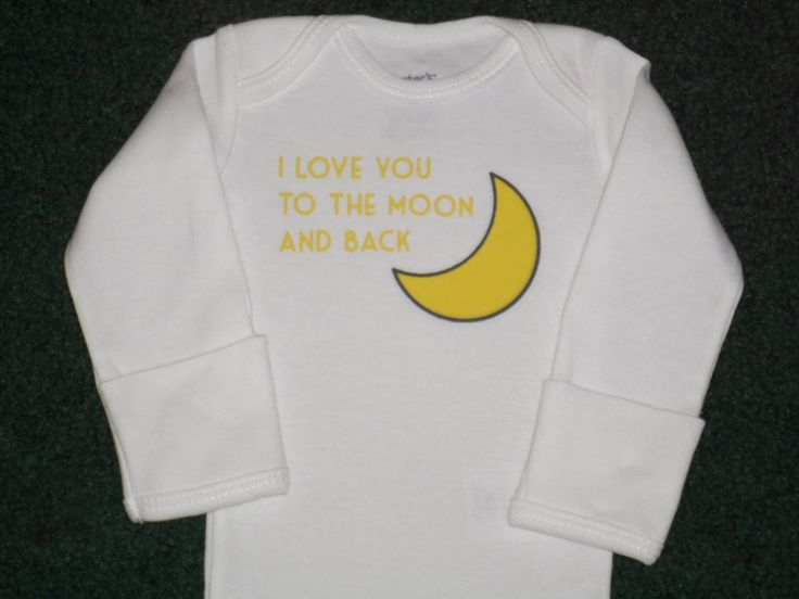 I Love You To The Moon And Back Bodysuit - Cute Yellow And White Bodysuit For Baby Boy Or Girl - Newborn Baby Gifts - Baby Bodysuits by SugarBearHair on Etsy