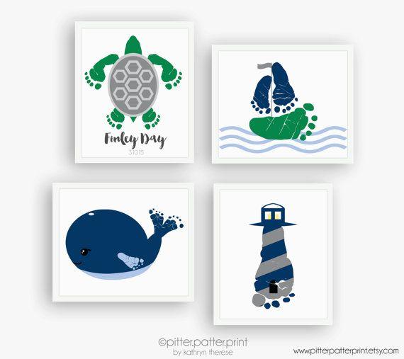 Nautical Nursery Art Print Set, Baby Footprint Sailboat, Lighthouse, Whale, Baby Boy Nursery, Boys Rooms Decor, Your Child's Footprints