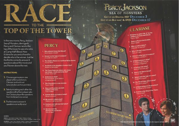 Percy Jackson Printable Race to the Top of the Tower Game