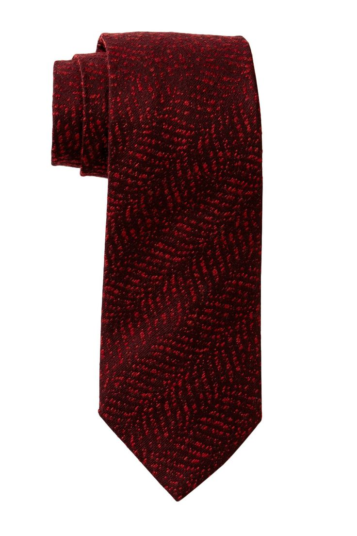 """Wool Blend Textured Tie in red by Giorgio Armani Uomo $195 - $84 at HauteLook. - Allover textured print - Approx. 52"""" L x 3.5"""" W - Made in Italy - Dry clean - 55% wool, 45% silk"""