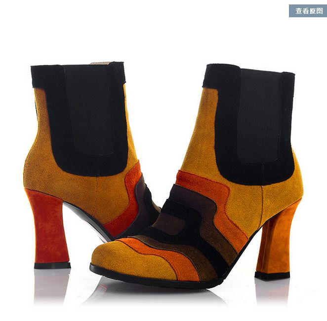 Womens Multi-Colors Ankle Boots Leather Block Heel Pumps Shoes Riding Luxury Us
