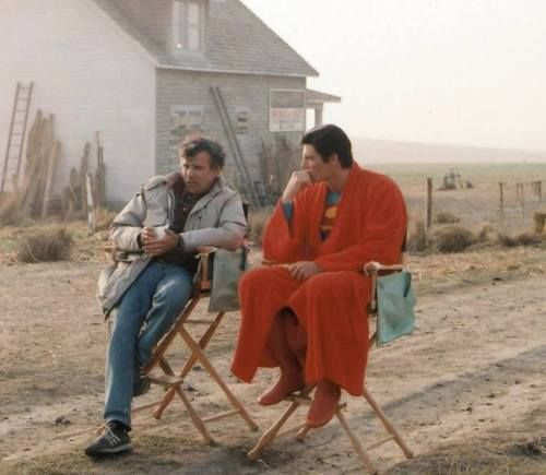 Christopher Reeve   Superman (behind the scenes-a RED robe! Can you stand it?!?)