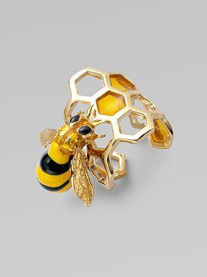 In honour of the ever so dedicated bee. Delfina Delettrez - Honeycomb Bee Ring