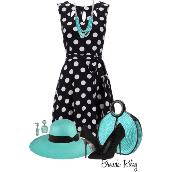 Polka dotted dress outfit. I would even wear the hat! How cute!