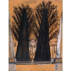 Alfred Wallis. 'Landscape with Two Large Trees and Houses. Oil on card. Date unknown.