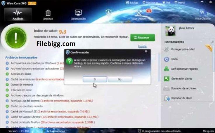 Free Download Software Wise Care 365 Free 3.83 - filebigg.com