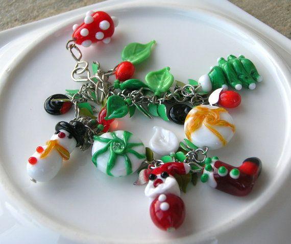 Lampwork Bracelet Holiday Gift Ideas Christmas by CandanImrak  sold