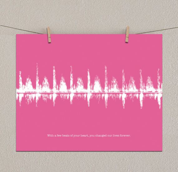 Great idea! :) send them a personalized recording for your loved one and they will turn it into an art piece Your Baby's Ultrasound Heartbeat Personalized by ArtsyVoiceprint, $35.00