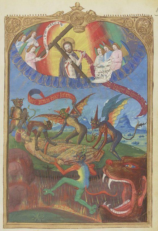 "Ottoman Emperor Mehmett II in battle of Rodos Island.  ""1480年、オスマン帝国メフメト2世によるロドス島攻略戦を記した本。聖ヨハネ騎士団の目線なのでメフメト2世さんが地獄に。 1483-1484年BnF Latin 6067 f.89r """