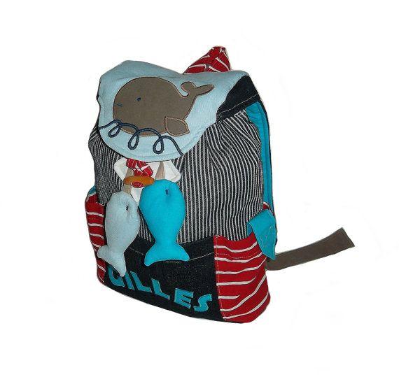 Kinderrucksack Fische-Kindergartentasche, Umhängetasche im maritimen Stil aus Jeans mit Fischen für Mädchen und Jungs, personalisiert