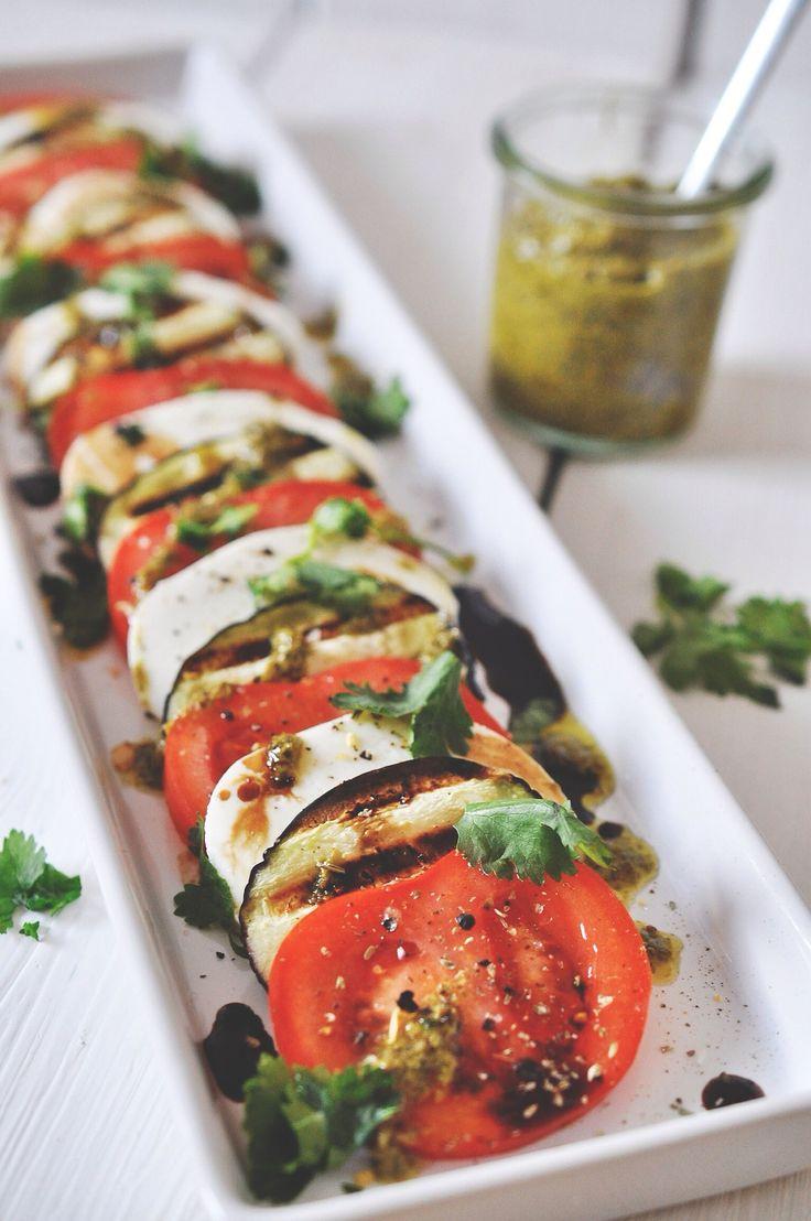 tomato-mozzarella and grilled eggplant salad with basil-olive oil, aceto balsamico, pesto and fresh cilantro