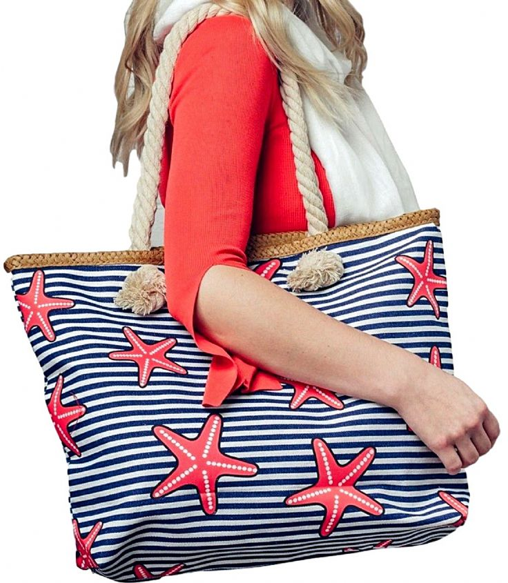 Large blue and white striped canvas beach bag tote shopper with a red starfish print thick canvas fabric rope handles hessian fabric bottom and trim