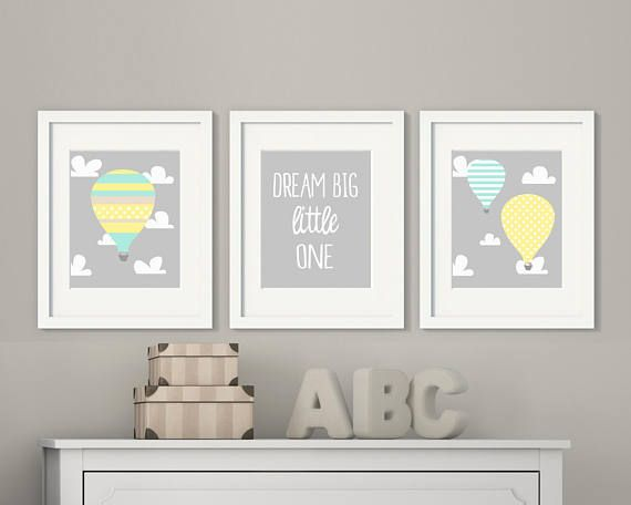 Baby hot air balloon wall art, Blue Mint, Yellow Nursery decor, Dream big little one, Baby room art prints, Hot air balloon nursery H440 This listing is for 3 art prints only - frame not included. These prints are professionally printed on high quality heavyweight matte paper with