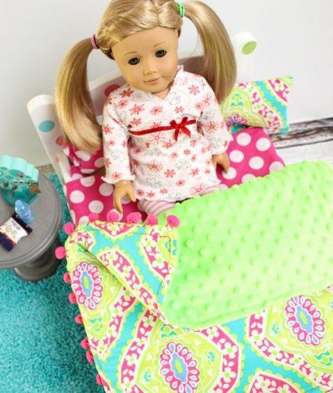 American Girl DIY Doll Blanket | AllFreeSewing.com