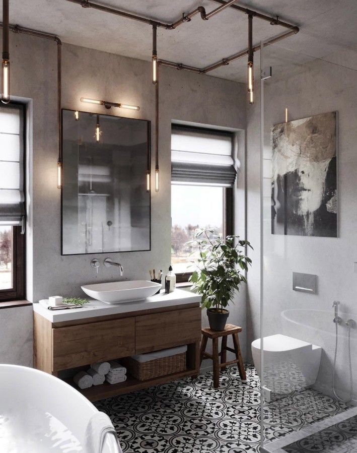 30 Remarkable Industrial Style Bathrooms Design Ideas Pinzones In 2020 Industrial Style Bathroom Industrial Bathroom Decor Industrial Bathroom Design