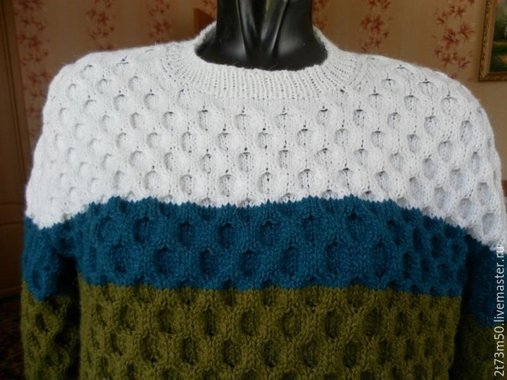 Купить пуловер мужской - тёмно-зелёный, в полоску, пуловер вязаный, свитер…