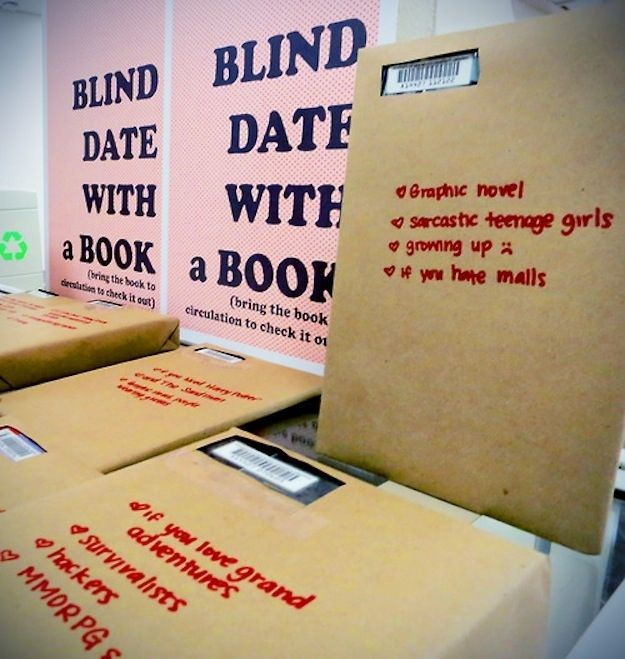 Blind date with a book - idea for book swap.  tumblr user alethiosaur, inspired by Worthington Libraries paired browsing library-goers with titles unknown to them except for the few characteristics she listed on their sealed-up covers.