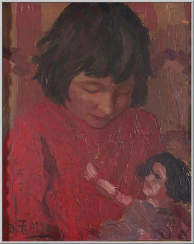 Mario Tozzi 1915: La Bambola (ritratto della cugina Ietta) - Olio su Tavola cm.38x31 - Collezione eredi Brunetti-Laderchi Bologna - Archivio n.1672 - Catalogo n.15/5.