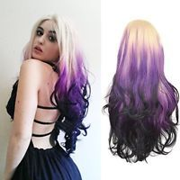 Lady Hand Weave Hair Lace Front Heat Resistant Long Wavy Curly Blonde Purple Wig