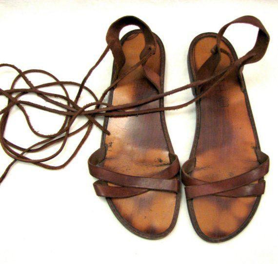 authentic GLADIATOR sandals straps wrap up calf by 20twentyvintage