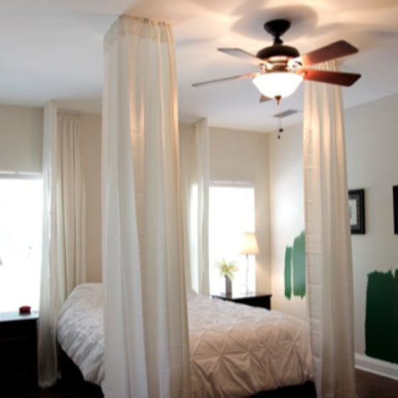 """diy bed canopy, made with 1x2 boards and 4 108"""" bed bath and beyond elements curtain panels. now to paint the walls green, add pillows, paint nightstands and decorate!"""