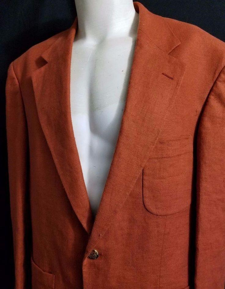 EXC Mens Lands End Orange 100% Linen Two Gold Button Blazer 42R Medium Made USA #LandsEnd #TwoButton