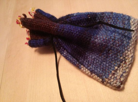 Brown and Blues Drawstring Pouch by TwiceisNiceBooBooRug on Etsy, $12.00