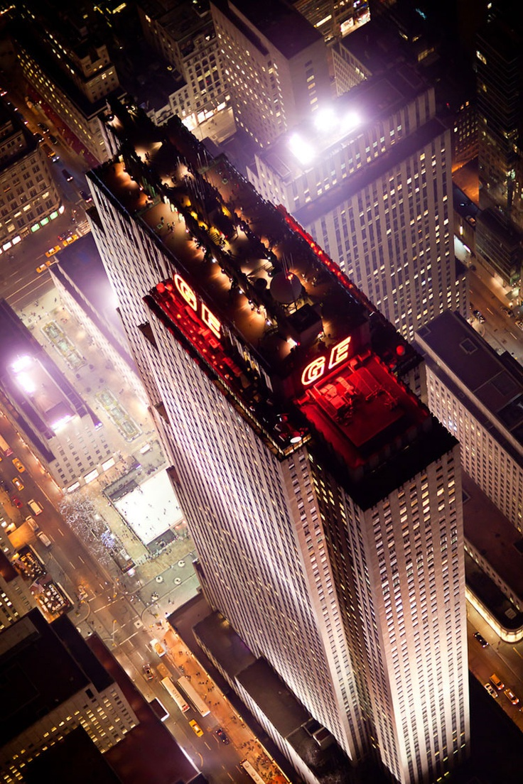 "Rockefeller Center, NYC ~ by Raymond Hood :: ""Roosting so high up on Rockefeller Center that it actually gets its own weather systems (mist, occasional hail), the event space Weather Room flattens the city into a patchwork carpet of blocks threaded with shimmering lights. A tourist destination by day, the venue rents out at night as a blank canvas for any private function. You can deck it out with furniture, mood lighting..."" via http://nymag.com/listings/bar/the-weather-room/"