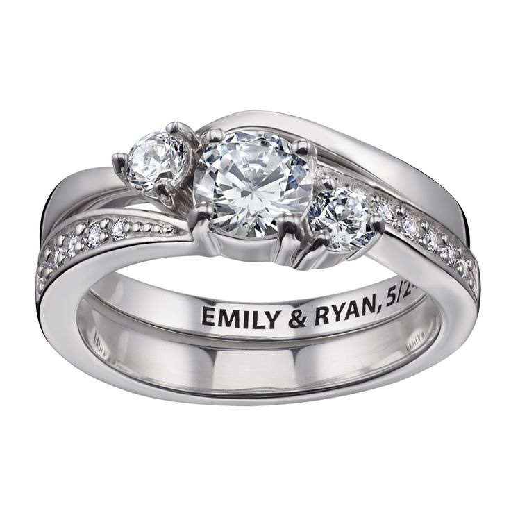 Sterling Silver 2 Piece Engraved CZ Wedding Ring Set