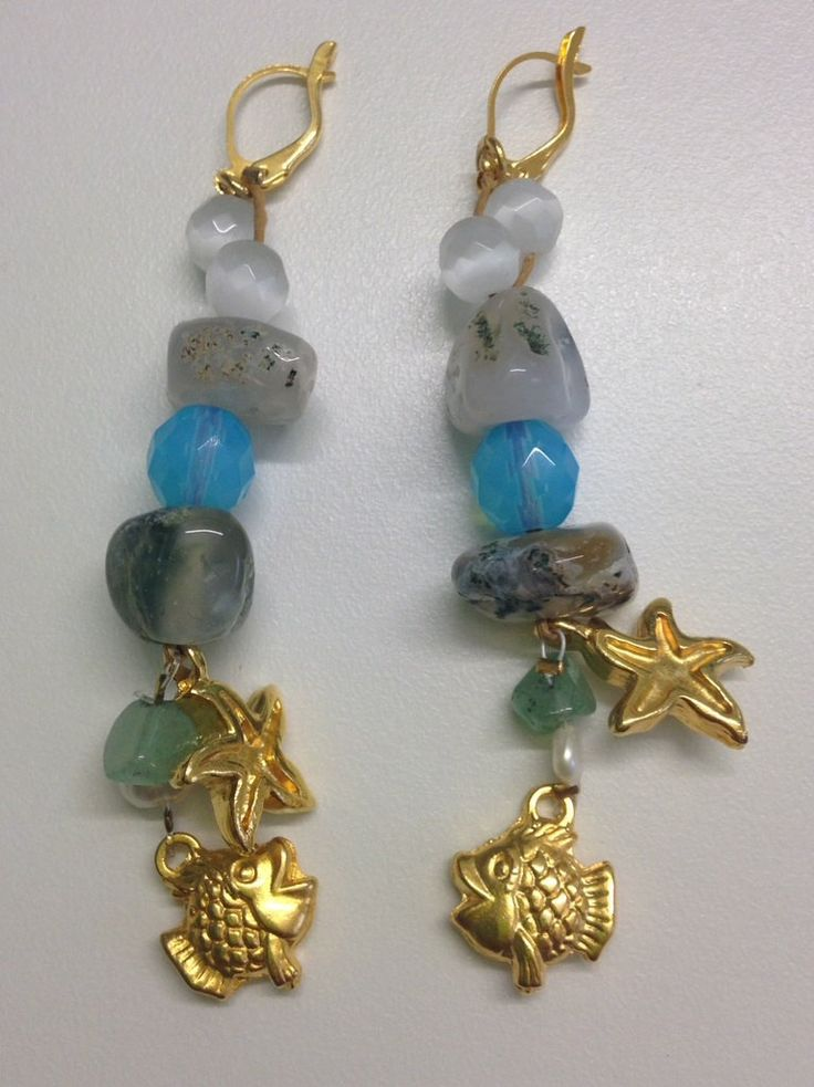 Women Earrings Jewelry Semi Precious Stone Gold Charms Pearl Beachwear Summer Modern Girly Starfish Fish 100% Handmade by ArtArgo on Etsy