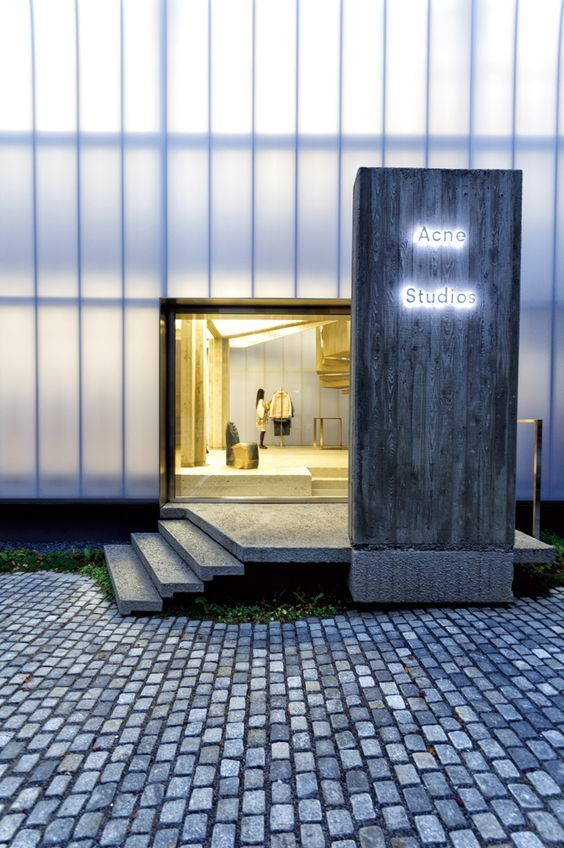 ACNE Studios, Seoul - polycarbonate walls & sign in concrete using wood…: