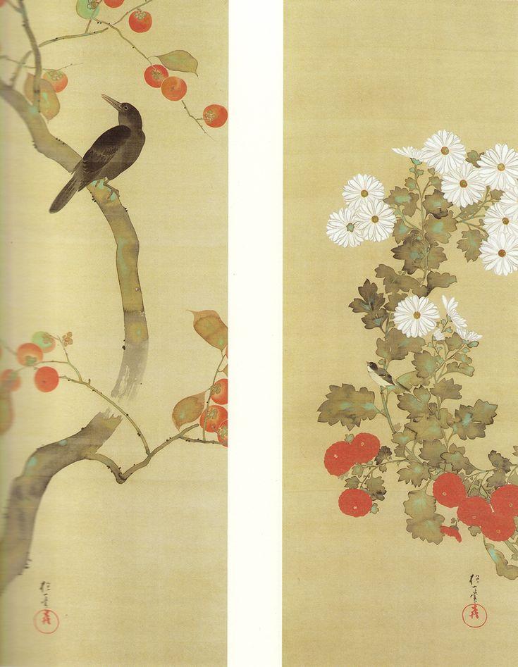 「十二か月花鳥図」(右図九月、左図十月),酒井抱一,19th century,Japan