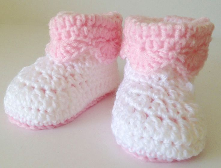 Crochet Pink and White Baby Uggs/Boots - Fits 6-12 months by PreciousPossums on Etsy