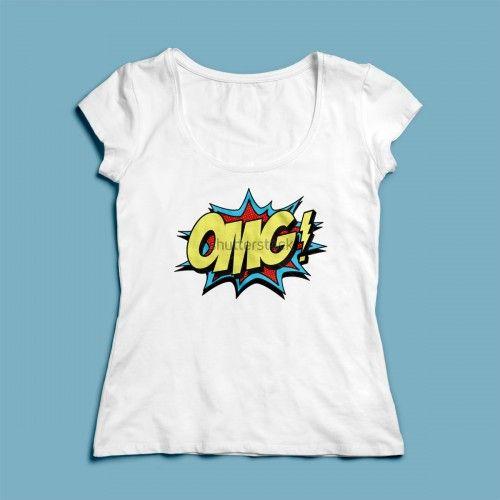 T-shirt OMG | Een 100% katoen single jersey t-shirt verkrijgbaar met v-hals of ronde hals met een graffiti thema voor zowel dames als heren! In diverse maten verkrijgbaar.  #kleding #textieldruk #opdruk #print #eigenprint #stoer #chill #graffiti #comic #strip #damesshirt #herenshirt #tshirt #shirt #witshirt #omg #ohmygod