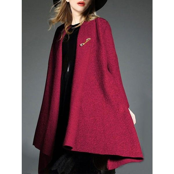 Asymmetric Woolen Lapel Collar Trench Coat (870 MXN) ❤ liked on Polyvore featuring outerwear, coats, trench coat, asymmetrical coat, asymmetrical trench coat, purple trench coat and purple coats